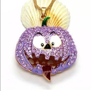 Funny Scary Halloween Purple Pumpkin Necklace